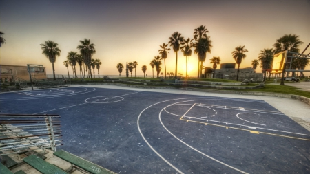 Basketball Court On Los Angeles Seaside Hdr Basketball Sports