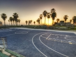 basketball court on los angeles seaside hdr