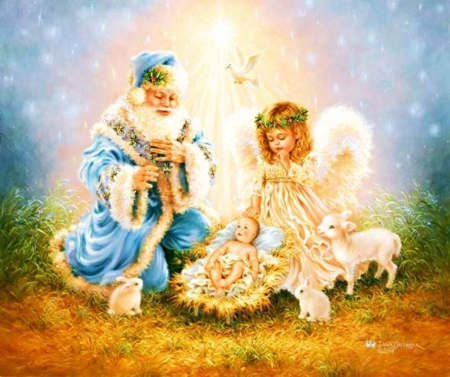 Father Christmas - angel, child, lambs, baby, artwork