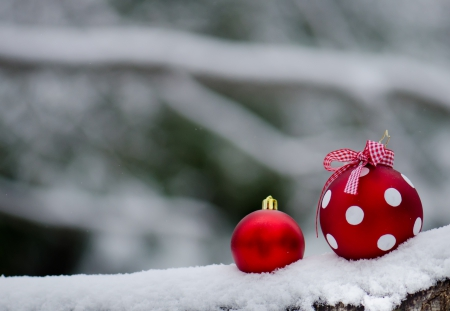 Winter Time - christmas, red balls, winter time, snowy, xmas, winter, merry christmas, balls, snow, magic christmas