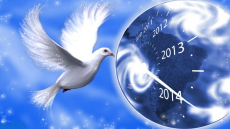 ~*~ Peace In 2014 ~*~ - planet, 2014, happy 2014, dove, peace, happy new year
