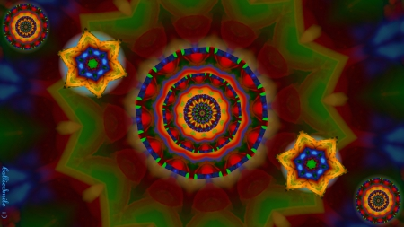 Christmas Abstract : ) - red, stars, designs, Christmas colors, kaleidoscope, kaleidoscopes too1, noe1, gold, green, bri11iance, blue