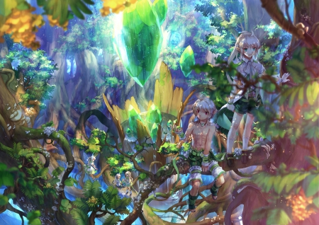 Magic Forest - pretty, grass, yellow, beautiful, magic, leafs, elfs, green, anime, beauty, gems, girls, blue, art, forest, lovely, blonde, trees, cute, water, boys