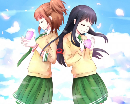 Riko & Natsuo - dark hair, brown hair, maki, pretty girl, anime girls, riko, love lab, cute girls, long hair