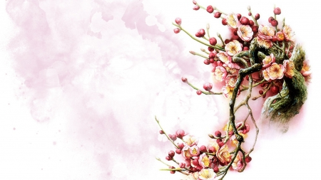 Oriental Blossoms - Sakura, fleur, spring, floral, Oriental, tree, painting, flowers, Chinese, pink, watercolor
