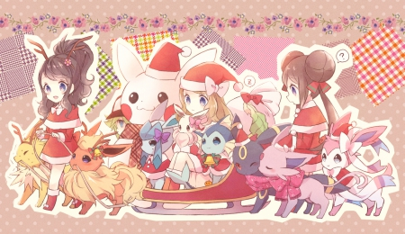 Pokemon - senta, pokemon, chibi, xmas, hat, cute, santa, kawaii, merry christmas, snow
