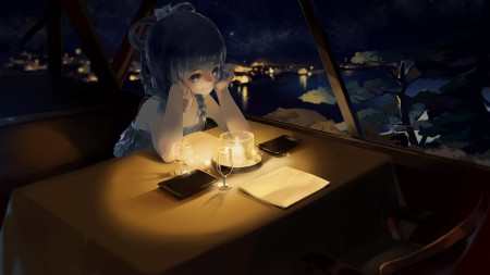 Think in the Dark - pretty, beautiful, woman, lights, sweet, city, anime, beauty, river, long hair, blue, table, art, candle, female, lovely, cute, girl, dark, lady
