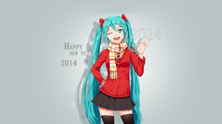 Happy New Year 2014 - ok, smile, New Year, 2014