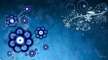 Blue Winter Design - abstract, floral, winter, curls, snow, snowflakes, swrils, flowers, blue
