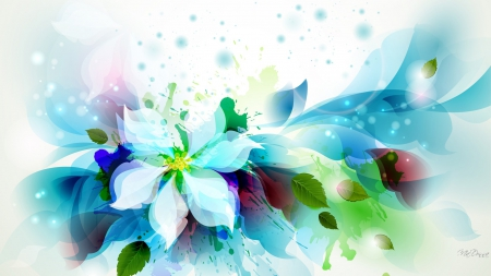 Flower Leaf Exposed - paint, splatter, colors, spring, abstract, cyan, turquoise, leaves, summer, aqua, flowers, watercolor