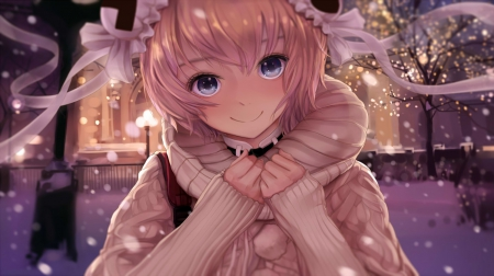 Smile! - pretty, blush, game, beautiful, magic, lights, sweet, nice, fantasy, anime, beauty, face, anime girl, blue eyes, night, female, twintail, glowing, smile, blonde hair, winter, short hair, cute, tree, cool, snow, awesome, landscape
