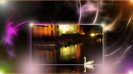 midnight air - art, special, colors, magic, swan, Happy New Year, lake, love, nature