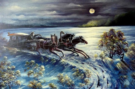 Night Rider - snow, horses, winter, cart, artwork, landscape
