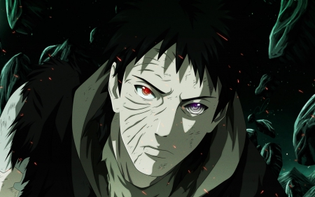 I will never die! - male, naruto, glowing, man, naruto shippuden, short hair, cool, obito, anime, dark, awesome, obito uchiha, purple eyes, red eyes, black hair