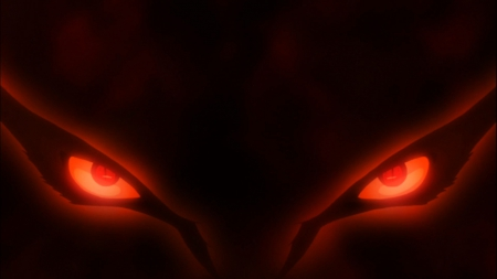 Demon eyes! - kyubi, naruto, nine tails, naruto shippude, anruto, nine tais, demon, fow, cool, anime, dark, awesome, kurama, red eyes