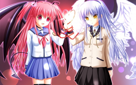 Yui & Kanade - pink eyes, angel beats, white hair, yellow eyes, demonic wings, light and dark, angel wings, anime, heart, yui, tachibana kanade, pink hair