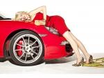 Dioni Tabbers supermodel and red Ferrari