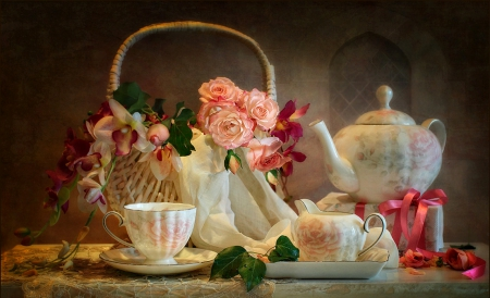 Still Life - roses, tea, cup of tea, still life, bouquet, basket, cup, flowers, nature