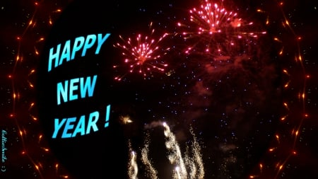 Happy New Year!!! Yeah! :D - red, firework, golden, celebration, Happy New Year, sparkles, y3ar, gold, fireworks, blue, celebrate