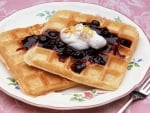 Have Some Nice Blueberry Topped Waffles For Breakfast