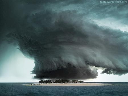 Bermuda Triangle - houses, ocean, stormy sky, island, beach, tornado