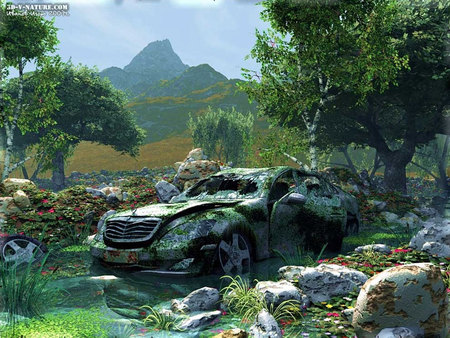 Car in Ruins - pond, wreck, stones, mountains, car, flowers, trees
