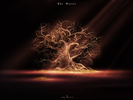 Tree of Sorrow - spotlight, dead tree, sadness, light beams