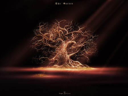 Tree of Sorrow - sadness, spotlight, light beams, dead tree