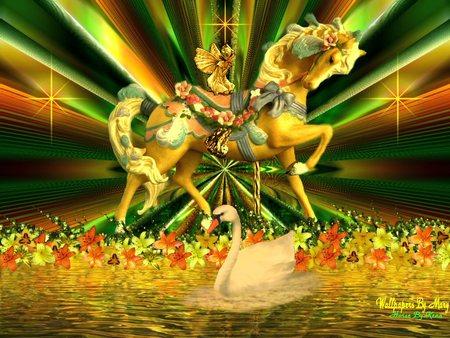 Carousel Horse - flowers, swan, gold fairy, rainbow stripes, pond, carousel horse