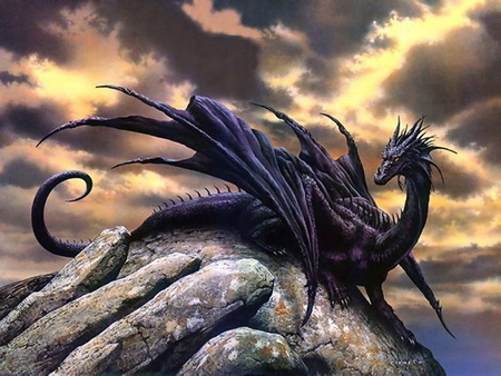 Black Dragon - wings, rock, black dragon, anime, abstract, fantasy, sea, black, dragon