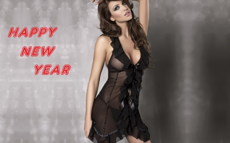 Beautiful New Year - brunettes, holidays, new years, lingerie, people, beautiful, sexy, women