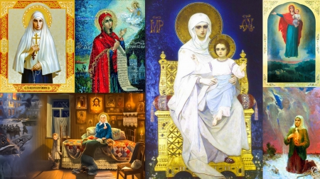 Most Holy Theotokos With Russian Saints