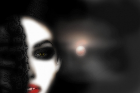 Snakeyes - beauty, Gothic, woman, night