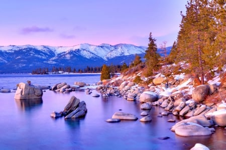 Lake Tahoe In Winter Lakes Nature Background Wallpapers