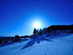 Moon rise at snow field