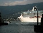 A cruise ship leaving Vancouver