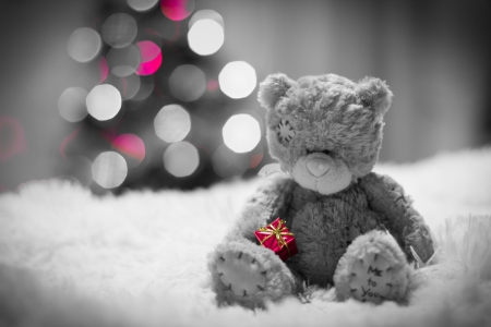 Xmas - christmas tree, bokeh, merry christmas, christmas, magic christmas, teddy bear, xmas