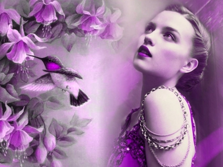For all Purple Lovers in DN - purple, girl, flowers, hummingbird, lips