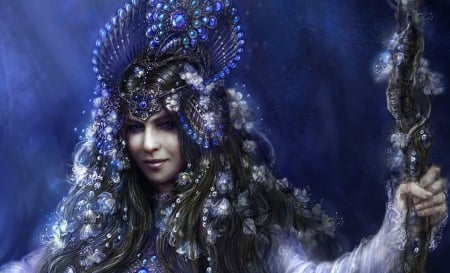 Blue Queen - art, lovely, beautiful, woman, fantasy, girl, digital, fairy, blue