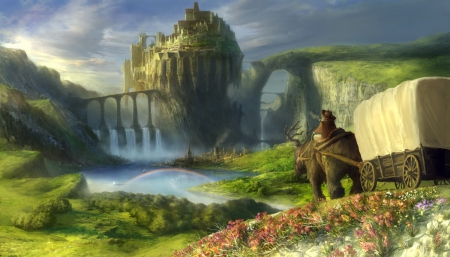 Spring Landscape - art, cool, original, bridge, anime, rainbow, landscape