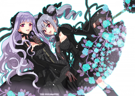 ~The Idolmaster~ - gothic lolita, purple hair, beautiful, black dresses, ribbons, idolmaster cinderella girls, shijou takane, idolmaster, anime, lolita fashion, flowers, kanzaki ranko, red eyes, friends