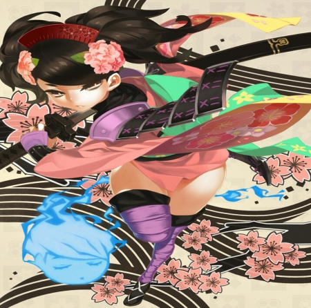 Samurai Girl - pretty, beautiful, woman, sweet, blossom, samurai, anime, beauty, soul, pink, sword, blue, female, rude, black, soft, kimono, cute, ghost, girl, purple, fight, lines, lady