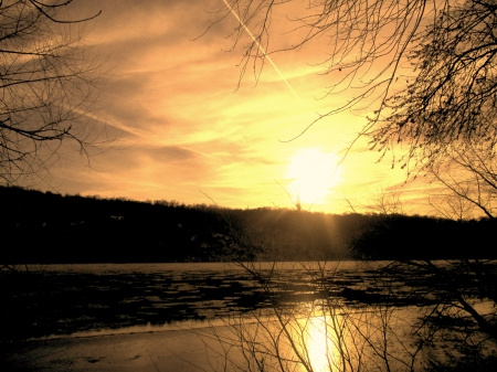 It's Like Looking At The Face of God - river, paradise, Sunset, Winter