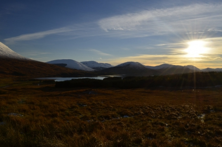 loch tulla sunset - hd, water, loch, dusk, tulla, sunset, lake