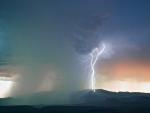 lightning in a rain storm