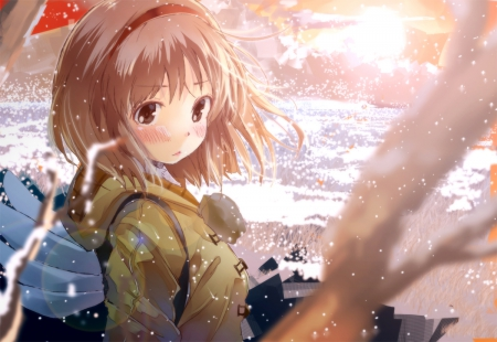 Tsukimiya Ayu - tsukimiya ayu, art, short hair, kawaii, cool, snow, anime, ayu, anime girl, tsukimiya