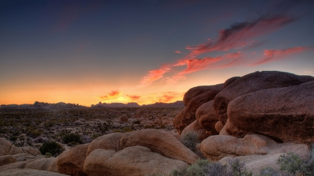 magnificent desret scene at sunset - clouds, desrt, rocks, sunset