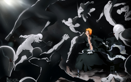 I'll Kill You All - anime boy, ichigo kurosaki, anime, light, bleach, male, manga, ichigo, kimono, brown eyes, short hair, shinigami, cool, dark, fight, awesome, orange hair