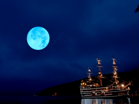 FULL MOON - moon, ship, full moon, sky, night