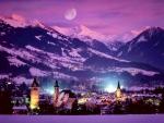 Winter resort at night